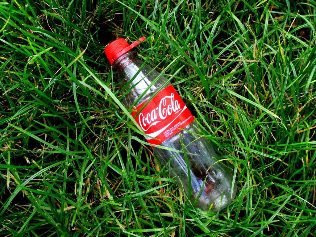 Coke bottle on grass